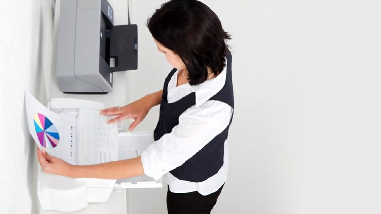 Woman using a fax machine background
